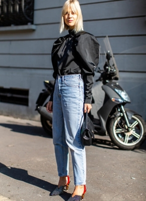Street style image of lady in denim