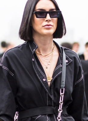 Street style image of lady wearing necklaces