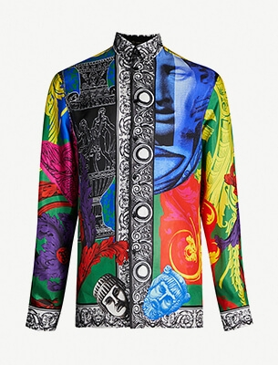 Baroque-print silk-twill shirt