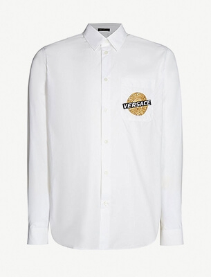 Baroque-logo cotton-poplin shirt