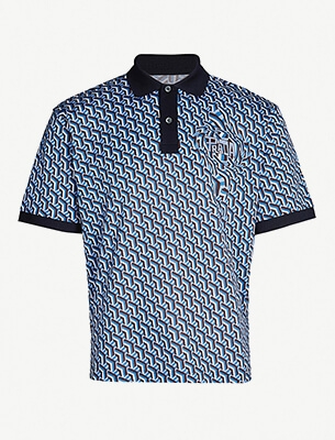 Geometric-patterned polo shirt