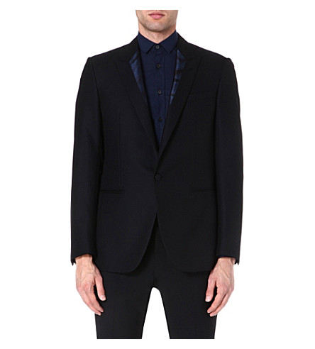 LANVIN Contrast-lapel dinner jacket (Black