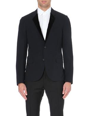LANVIN Velvet notch lapel wool-blend jacket