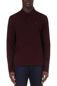 LANVIN High-top embroidered long-sleeve polo shirt