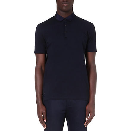 LANVIN Grosgrain-collar polo shirt (Navy