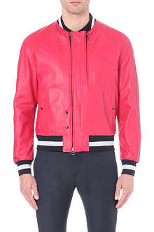 LANVIN Striped-trim lambskin aviator jacket