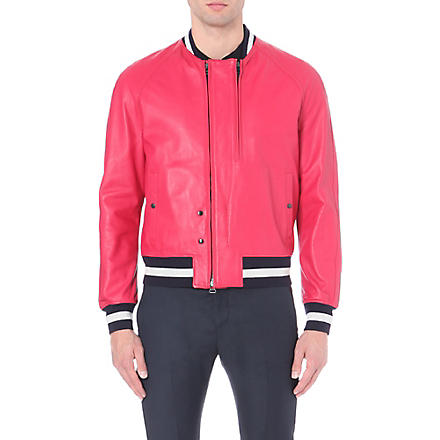 LANVIN Striped-trim lambskin aviator jacket (Pink