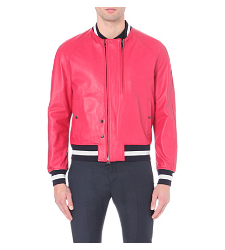 LANVIN Striped-trim lambskin aviator jacket (Pink