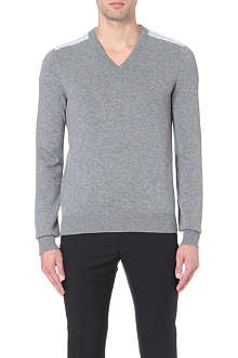 LANVIN Mesh-shoulder v-neck jumper
