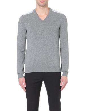 LANVIN Mesh-shoulder v-neck jumper
