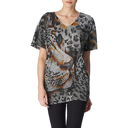 STELLA MCCARTNEY Oversized leopard top (Grey