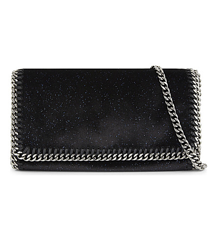 STELLA MCCARTNEY Falabella velvet cross-body bag (Black/navy