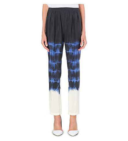STELLA MCCARTNEY Tie-dye silk trousers (Blue