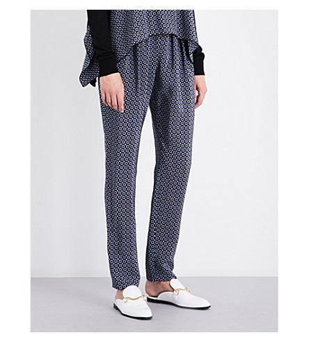 STELLA MCCARTNEY Christine straight silk crepe de chine trousers (Black/+blue+winter