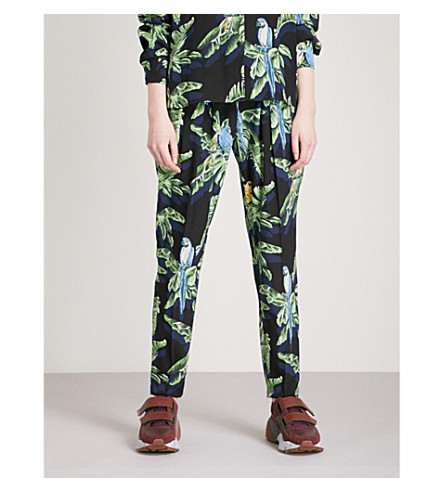STELLA MCCARTNEY Parrot-print silk trousers (Navy+par