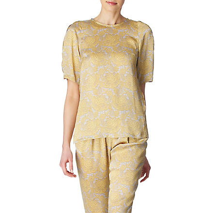 STELLA MCCARTNEY Lace-print top (Yellow
