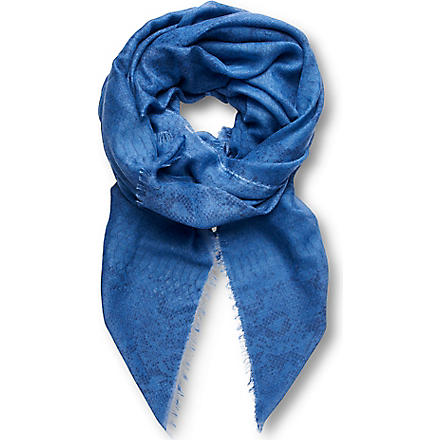 STELLA MCCARTNEY Snake-print silk scarf (Blue