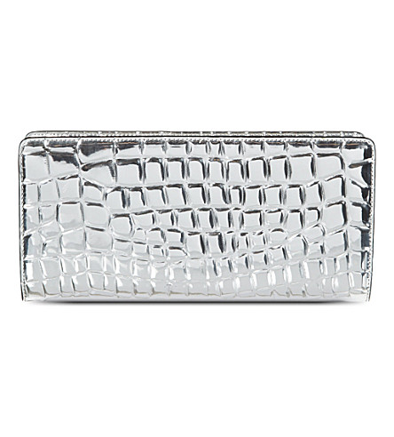 STELLA MCCARTNEY Metallic croc-embossed wallet (Silver