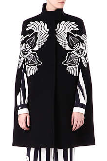 STELLA MCCARTNEY Floral embroidered wool cape