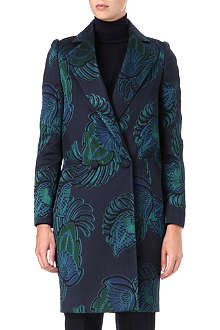 STELLA MCCARTNEY Feather-print jacquard coat