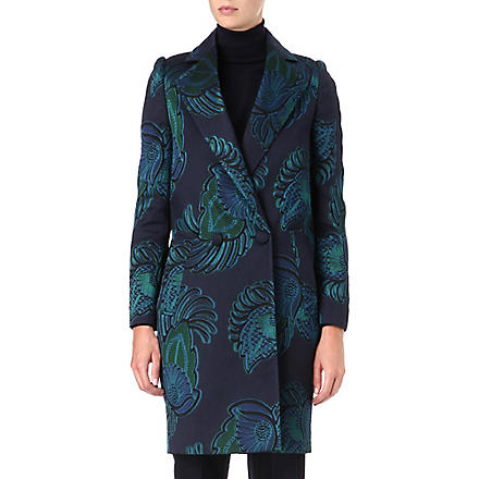 STELLA MCCARTNEY Feather-print jacquard coat (Teal