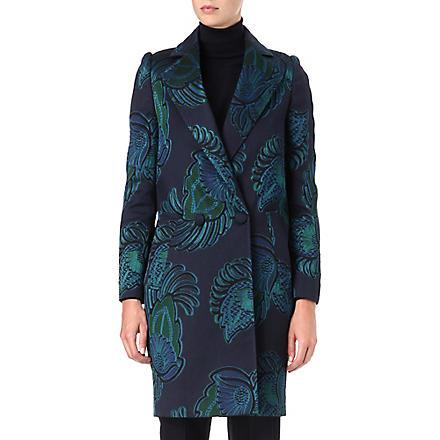STELLA MCCARTNEY Feather-print jacquard coat (Teal