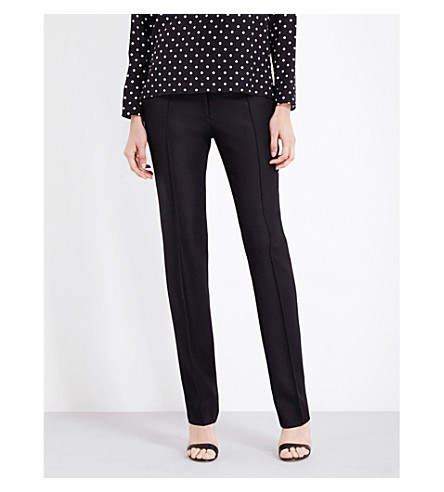 STELLA MCCARTNEY Anna straight wool-piqué trousers (Blk