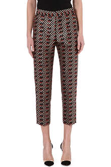 STELLA MCCARTNEY Matchstick-print silk-blend trousers