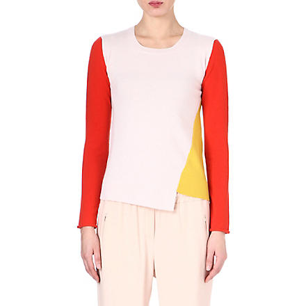 STELLA MCCARTNEY Colour-blocked cashmere jumper (Red