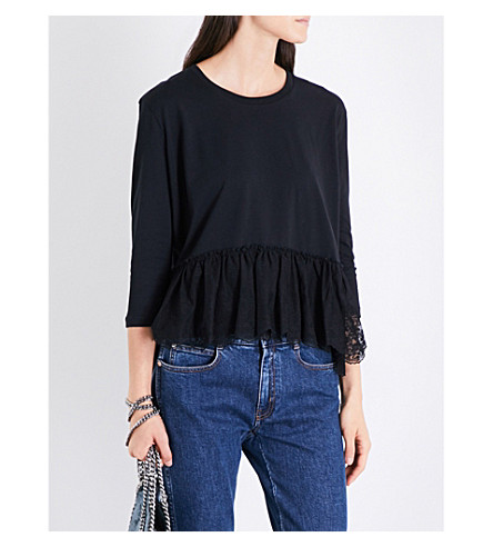 STELLA MCCARTNEY Peplum floral-lace and cotton-jersey top (Black