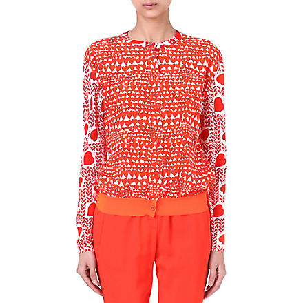 STELLA MCCARTNEY Heart-print knitted caridgan (Red
