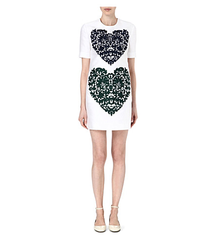 STELLA MCCARTNEY Embroidered heart shift dress (Ivory