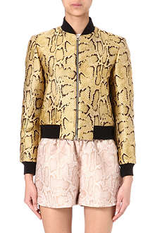 STELLA MCCARTNEY Silk-jacquard python bomber jacket