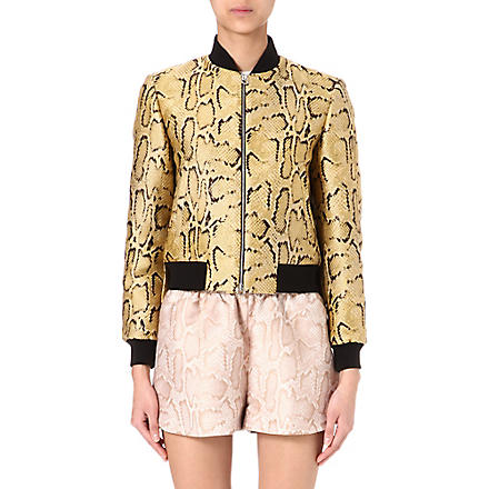 STELLA MCCARTNEY Silk-jacquard python bomber jacket (Yellow