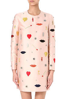 STELLA MCCARTNEY Lip-motif satin dress