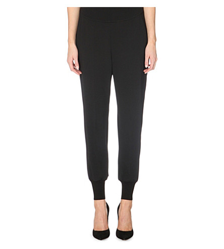 STELLA MCCARTNEY Slim-fit crepe jogging bottoms (Black