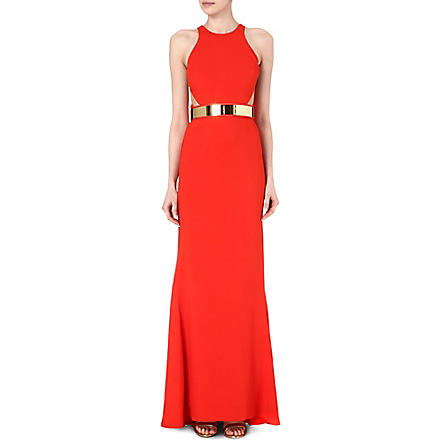 STELLA MCCARTNEY Belted mesh-detail gown (Red