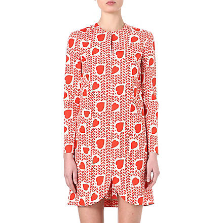 STELLA MCCARTNEY Heart-print silk dress (Red