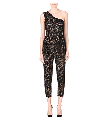 STELLA MCCARTNEY Asymmetric lace jumpsuit (Black