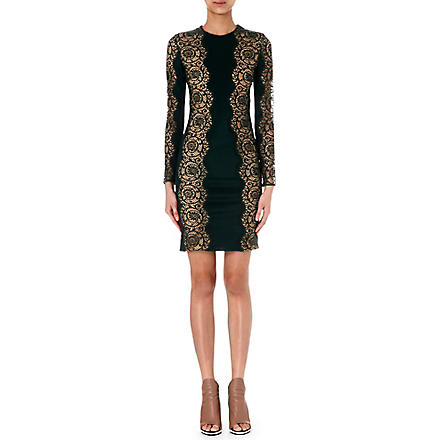 STELLA MCCARTNEY Lace-panel long-sleeve dress (Forest