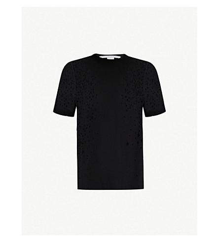 STELLA MCCARTNEY Star cutout cotton-jersey T-shirt (Black