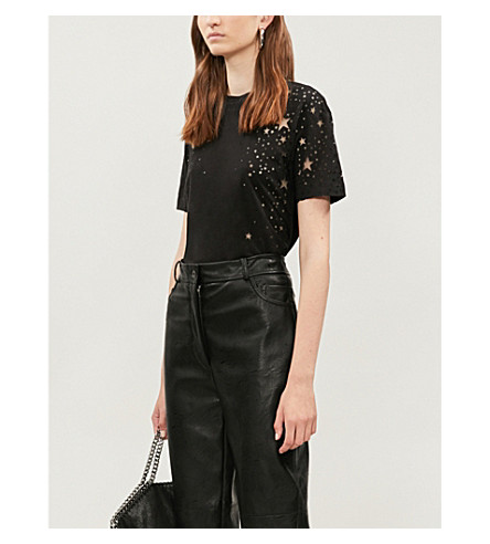 STELLA MCCARTNEY Star cutout cotton-jersey T-shirt (Black