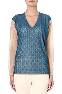 STELLA MCCARTNEY Lace-panel cotton and silk-blend jumper