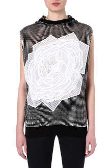 STELLA MCCARTNEY Rose-appliqué sleeveless hoody