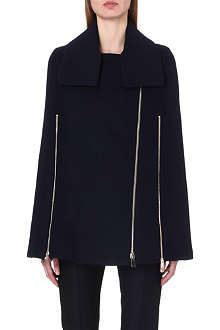 STELLA MCCARTNEY Zip-detail wool-blend cape coat