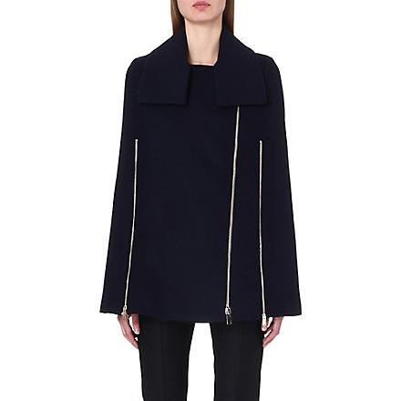 STELLA MCCARTNEY Zip-detail wool-blend cape coat (Ink