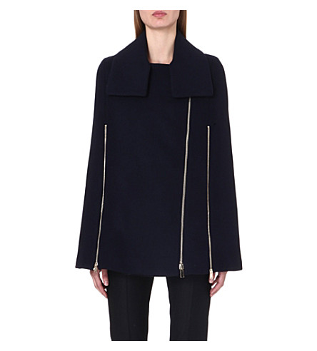 STELLA MCCARTNEY Zip-detail wool-blend cape coat (Ink