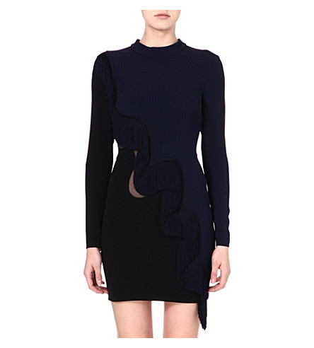 STELLA MCCARTNEY Fringed mesh-panel dress (Navy