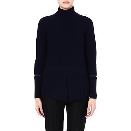 STELLA MCCARTNEY Cut-out knitted wool jumper (Ink/dk green
