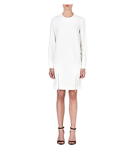 STELLA MCCARTNEY Zip-detail crepe dress (White